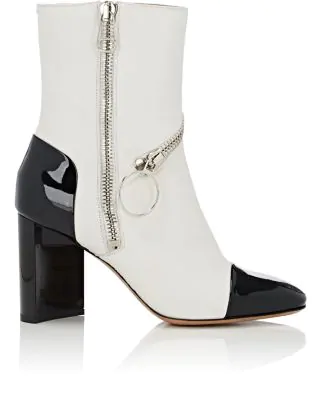 Maison Margiela Asymmetric-Heel Leather Ankle Boots In White