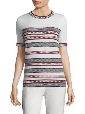 Escada Striped Short Sleeve Tee In Off White