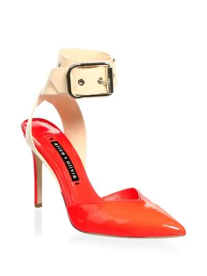 Alice And Olivia Rachelle Patent Leather Point Toe Pumps In Coral