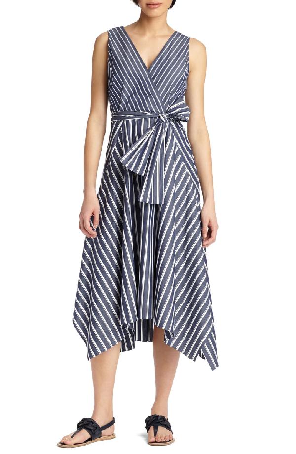Lafayette 148 Demetria Regal-Striped Sleeveless Dress In Blue Note Multi