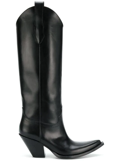 Maison Margiela Mexas Leather Western Boots - Black In 900 Black