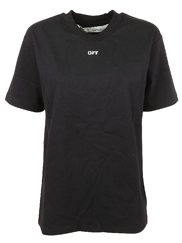 Off-white Logo And Floral-print Cotton T-shirt In Black