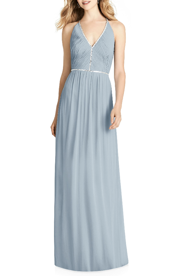 Jenny Packham Pleated Bodice Chiffon Gown In Mist