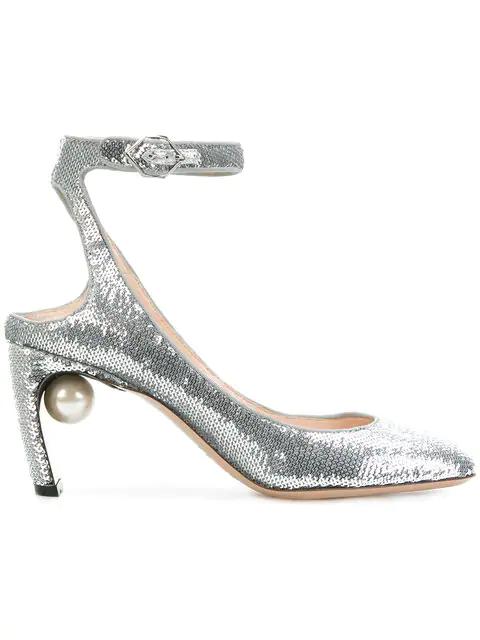 b6a62cc8511 Nicholas Kirkwood Lola Faux-Pearl Sequin-Embellished Sandals In Metallic