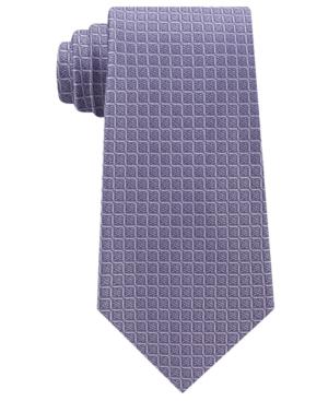 Calvin Klein Men's Simple Grid Silk Tie In Lilac