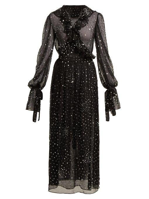 70075aea Ashish Sequin-Embellished Sheer-Chiffon Wrap Dress In Black | ModeSens