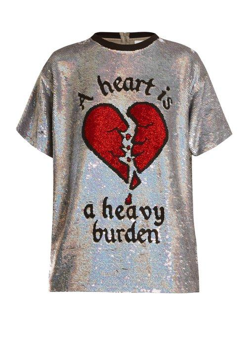 77ae422c6b9f5e Ashish Broken Heart Sequin-Embellished Silk Top In Silver