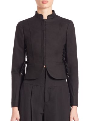 Red Valentino Cropped Jacket W/lace-up Sides, Black