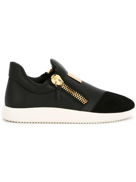 Giuseppe Zanotti Suede Trim Logo Leather Sneakers In Black