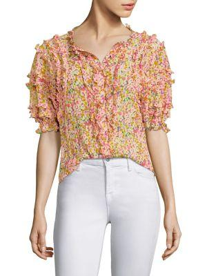 d3197cfb3bee0f Rebecca Taylor Margo Short-Sleeve Floral-Print Ruffled Top In Multi Combo