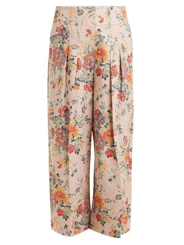 Rebecca Taylor Floral-Print Wide-Leg Cotton-Blend Trousers In Dusty Rose Combo