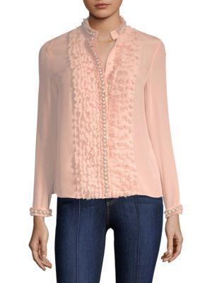9456a6be6dd84 ALICE AND OLIVIA. Arminda Button-Down Ruffled Chiffon Blouse W  Pearlescent  Trim ...