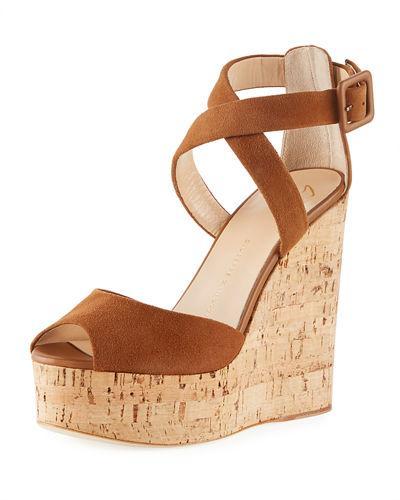 Giuseppe Zanotti Suede High Platform Wedge Sandal In Tan