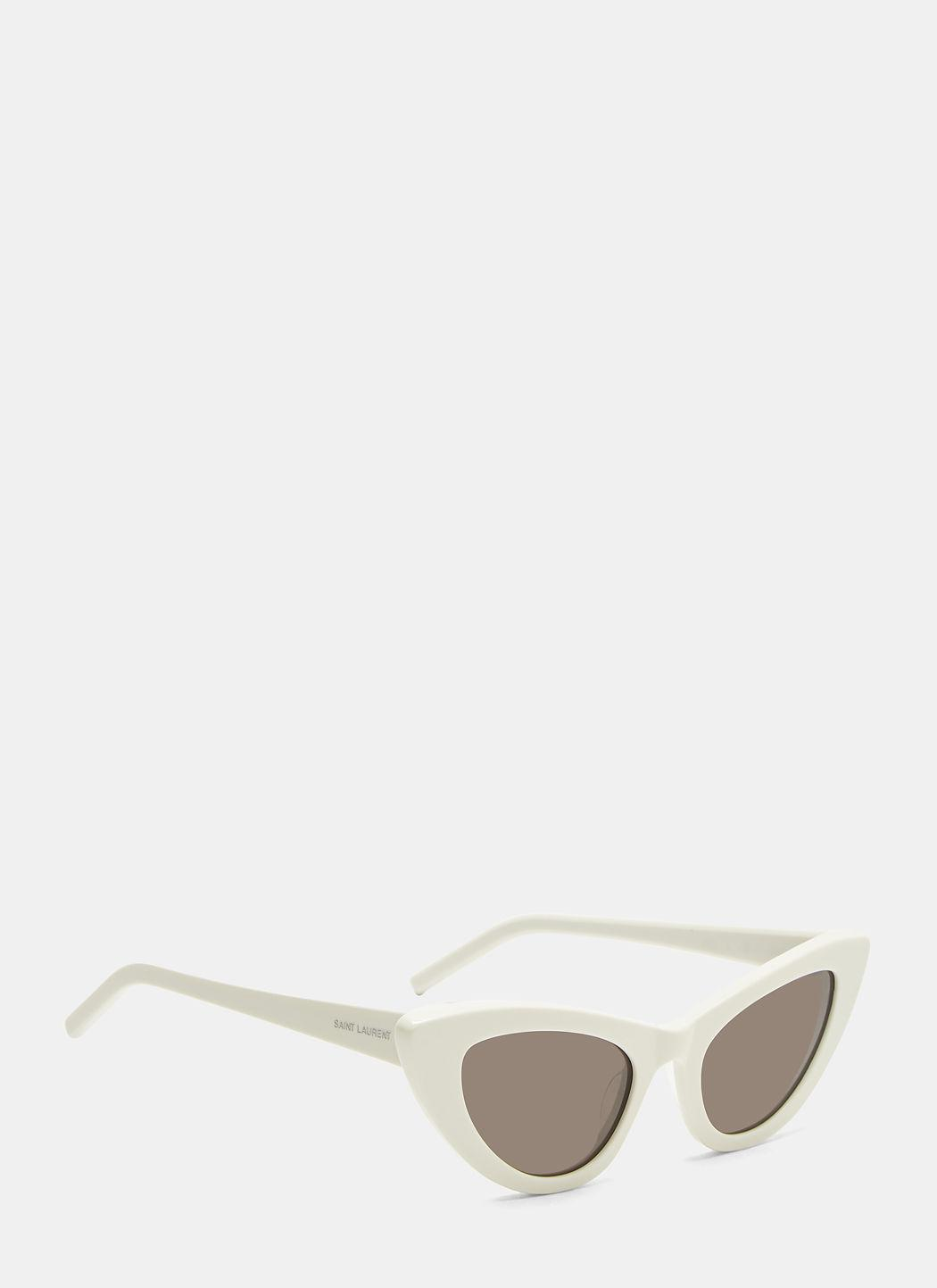 dce0a83956 Saint Laurent New Wave 213 Lily Sunglasses In White In 005 Ivory ...