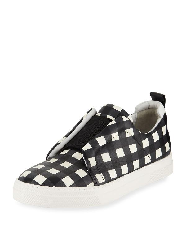 Pierre Hardy Slider Check Platform Sneakers In Black/White