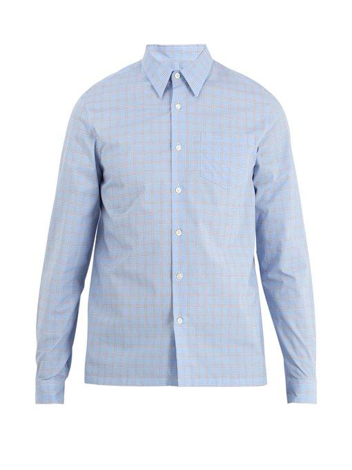 Prada Point-Collar Checked Cotton Shirt In Blue Multi