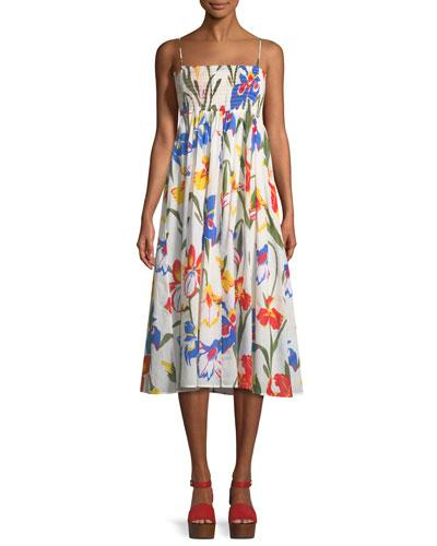 79e0278ea2 Tory Burch Painted Iris Floral-Print Sleeveless Midi Coverup Sun Dress In  Multi