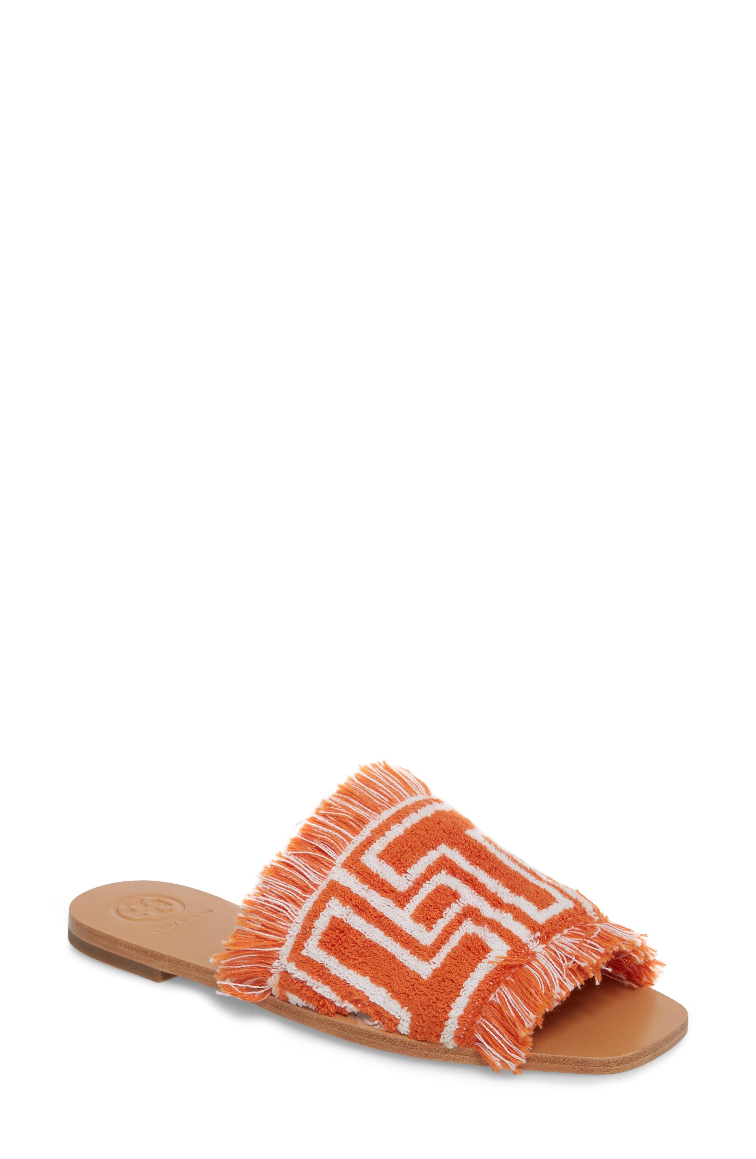 631dc95df0c1 Tory Burch Logo-Intarsia Terry Slides In Orange  Ivory