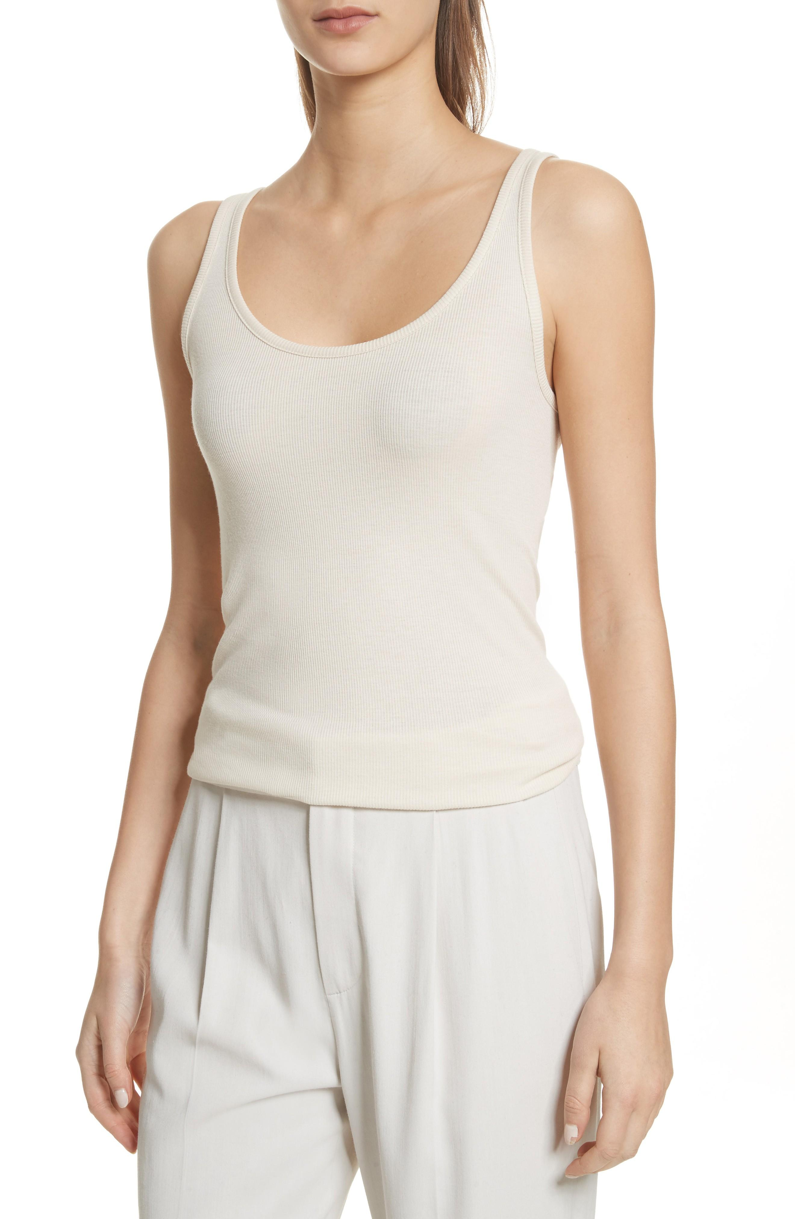 f60220c0dfdd8 A layering essential feels ultrasoft against the skin in a finely ribbed  knit of pima cotton and modal. Style Name  Vince Scoop Neck Tank.