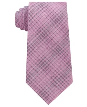 Calvin Klein Men's Hi Rise Grid Silk Tie In Pink