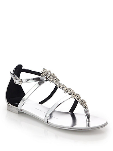 Giuseppe Zanotti Crystal Leaf Metallic Leather Sandals In Silver