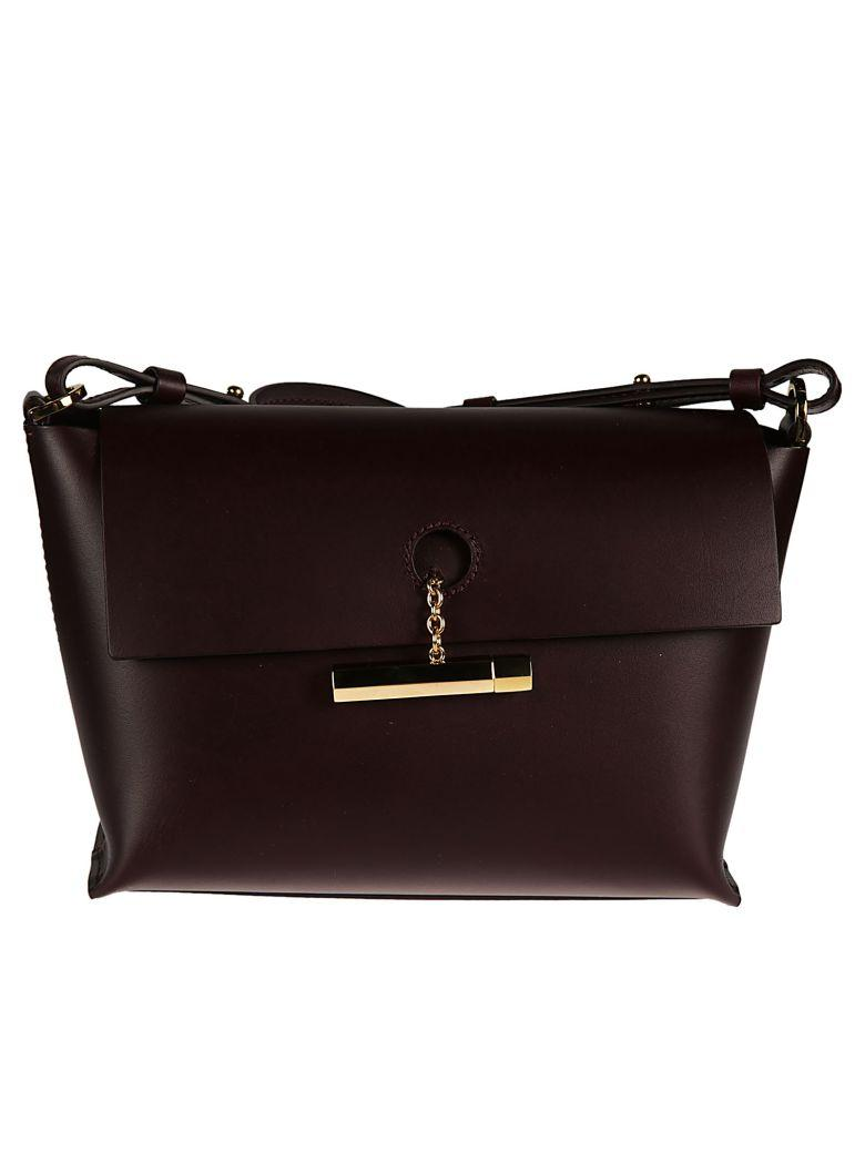 Sophie Hulme Tan Pinch Crossbody Bag In Oxblood