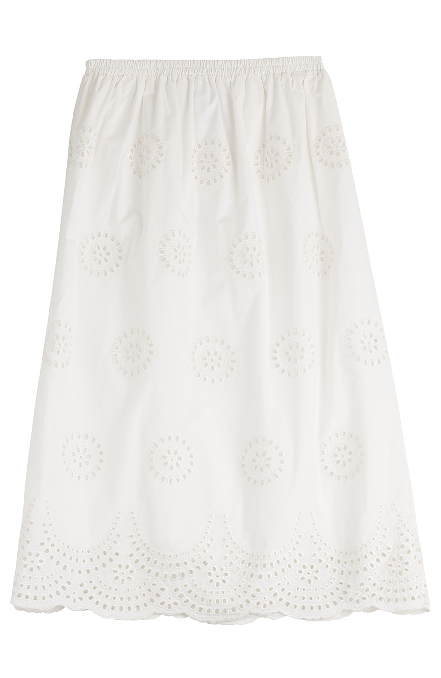 Red Valentino Embroidered Cotton Midi Skirt In White