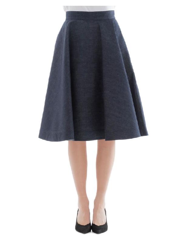 Calvin Klein Flared Denim Skirt In Blue
