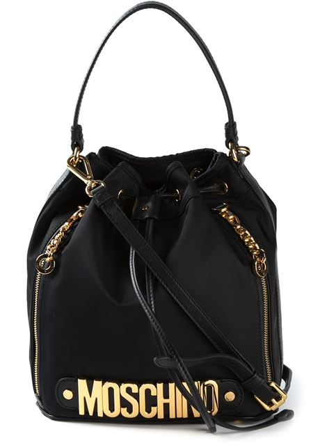 Moschino Medium Logo Lettering Nylon Bucket Bag, Black