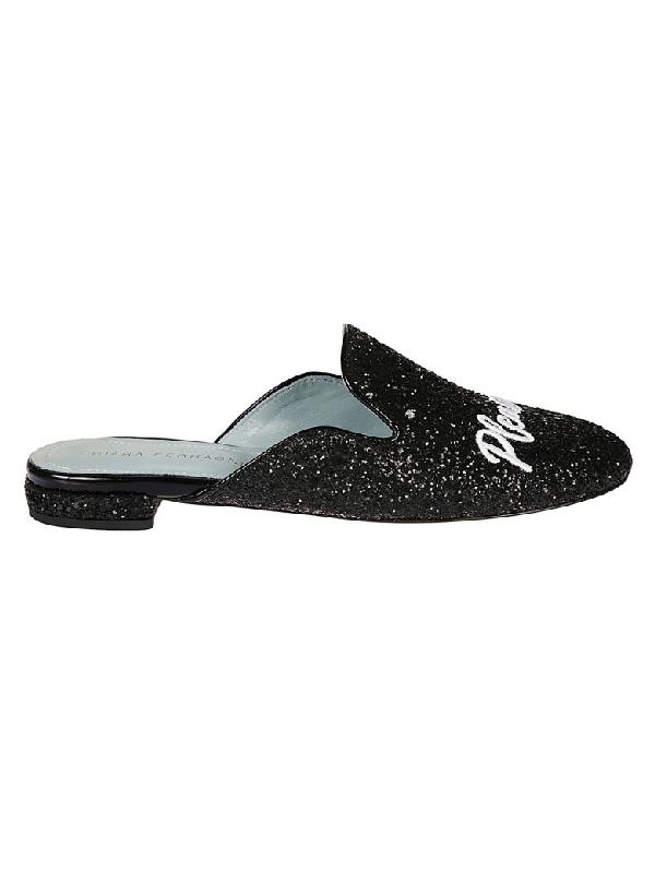 Chiara Ferragni Black Glitter Mules