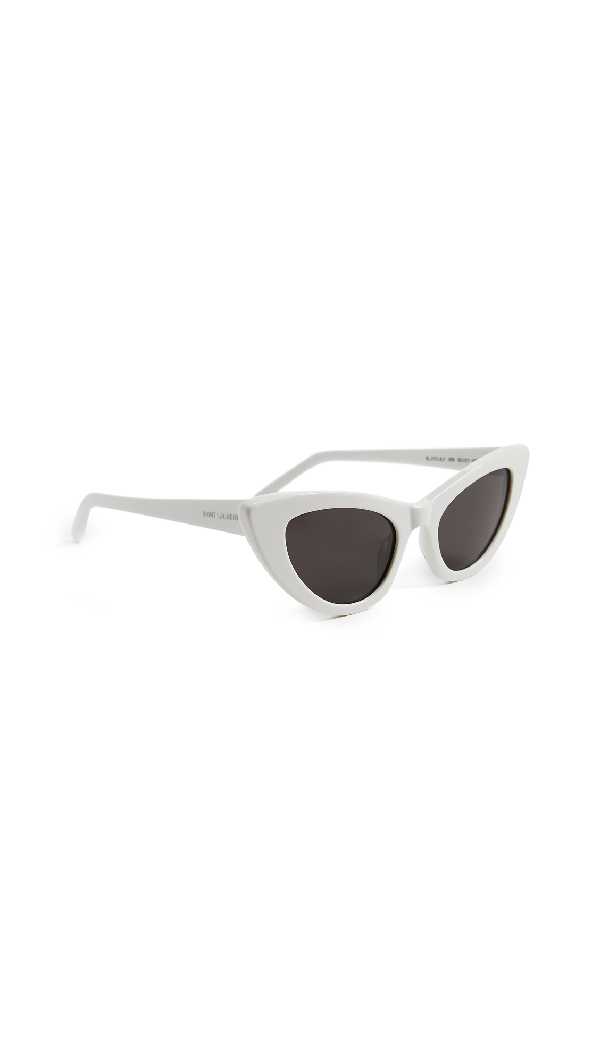 39f1c0ab0645 Saint Laurent Lily Cat-Eye Acetate Sunglasses, Ivory In Ivory/Solid Grey