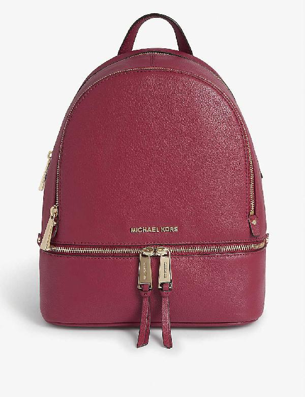 Michael Michael Kors Rhea Medium Leather Backpack In Berry