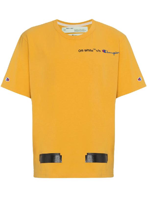 49937f80 Off-White Yellow Champion Reverse Weave Edition T-Shirt | ModeSens