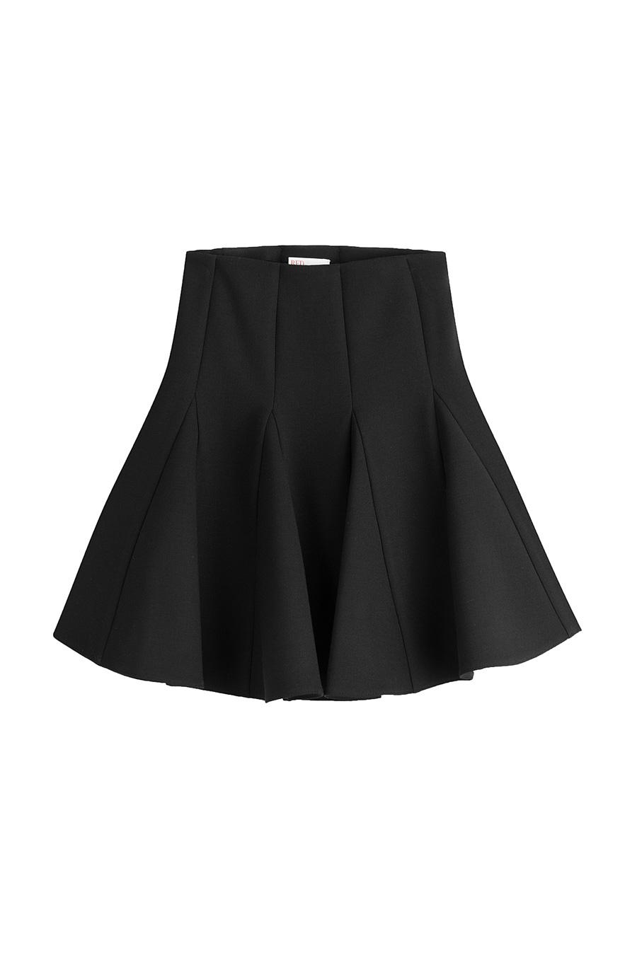 Red Valentino Mini Swing Skirt In Black