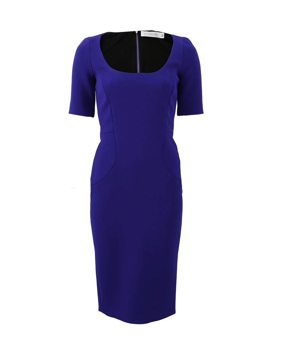 Victoria Beckham Half-sleeve Decolette Fitted Dress In Cobalt