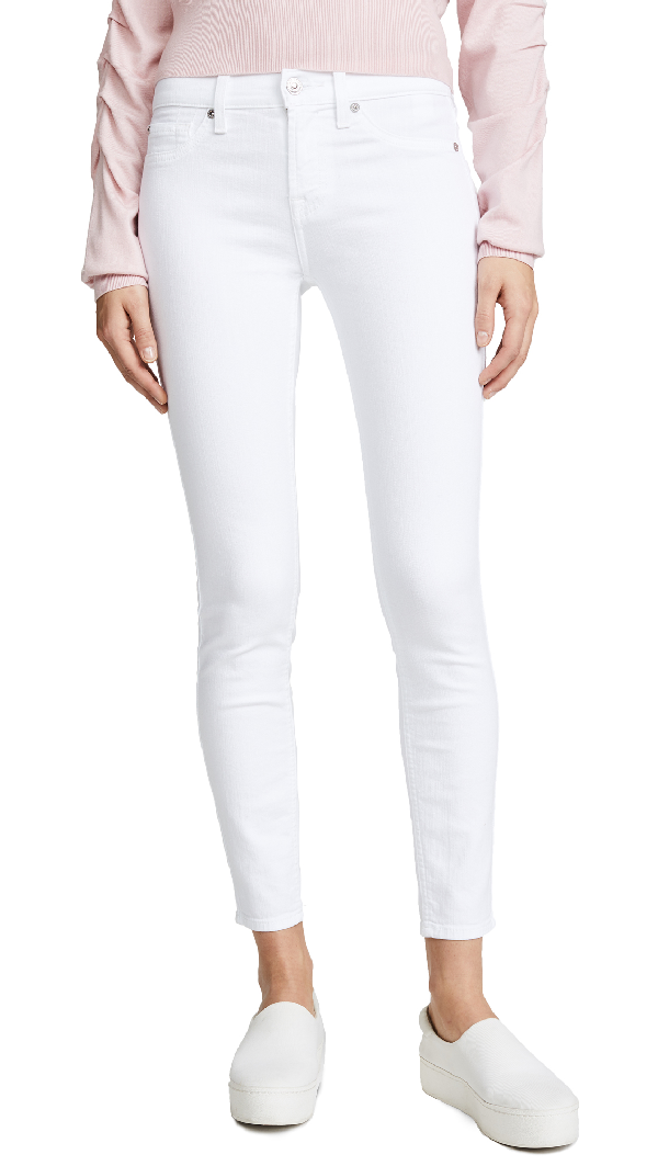 7 For All Mankind Skinny Ankle Jeans In Clean White