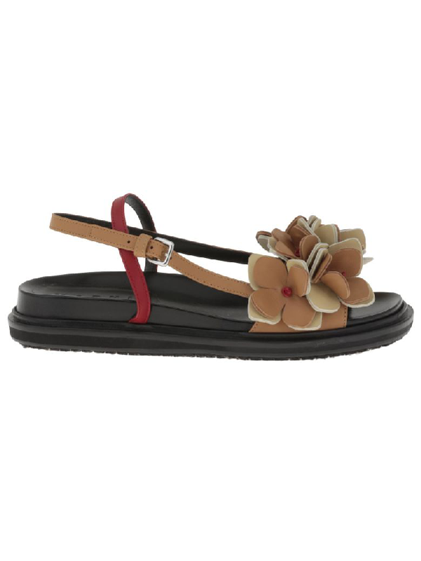 Marni Leather Sandal In Cereal+Swan+Indian Red