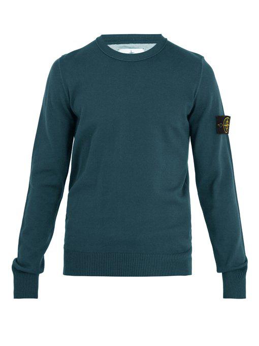 Stone Island Logo-Patch Cotton Sweater In Dark Green