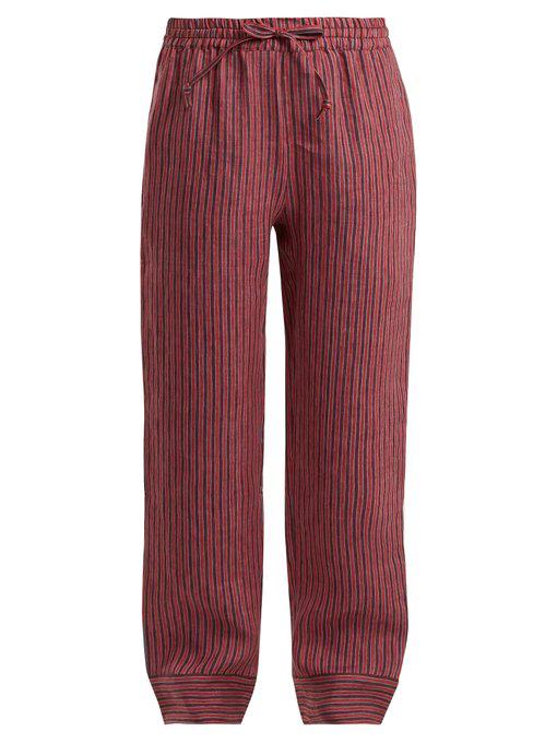 Acne Studios Maseline Sketch Striped Linen-Blend Trousers In Red Stripe
