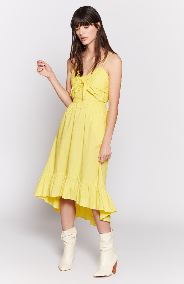 Joie Clorinda Ruffle-Hem High-Low Cotton Sun Dress In Yellow