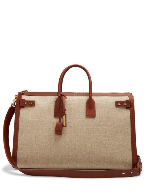 ff19e930386 Saint Laurent Sac De Jour Canvas Weekender Bag In Beige | ModeSens