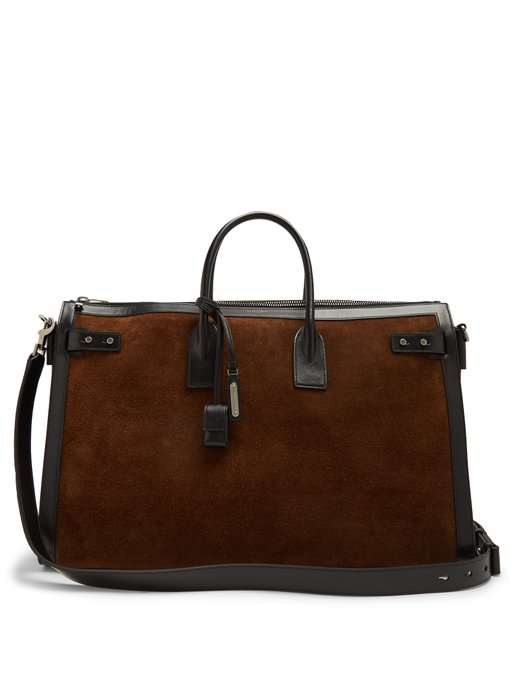 Saint Laurent Suede Leather-Trimmed Holdall In Khaki