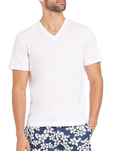 Michael Kors Jersey Cotton V-neck T-shirt In White