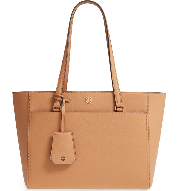 07257eed5c5 Tory Burch Robinson Small Saffiano Leather Zip-Top Shoulder Tote Bag In  Cardamom / Royal
