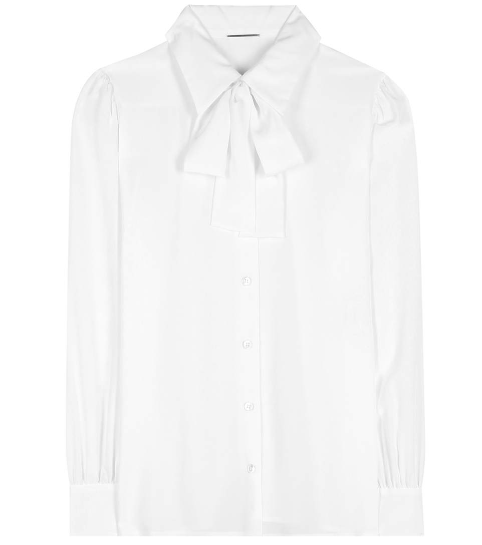 Saint Laurent Pussybow-neck Crepe De Chine Blouse In White