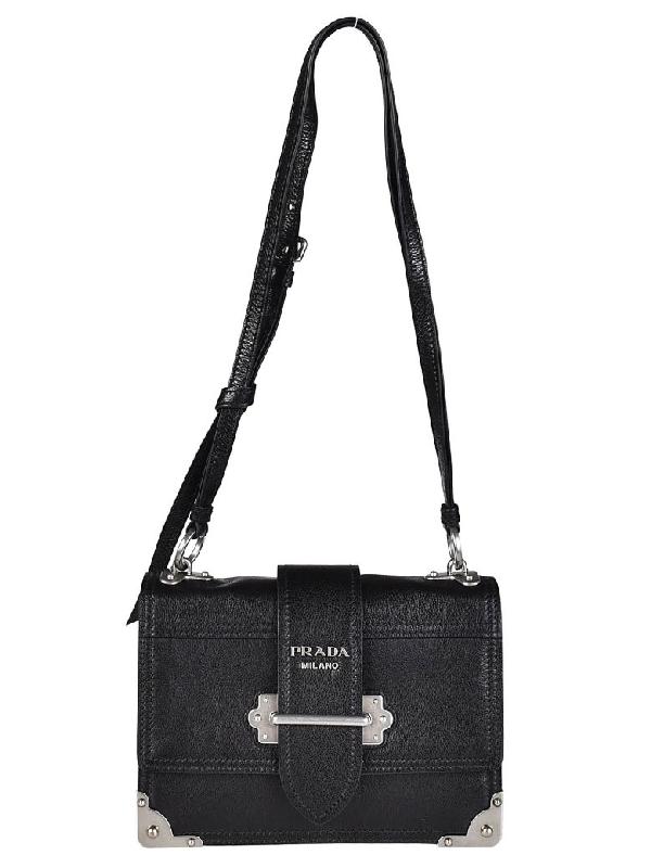 07dda9910a31 Prada Glace Calf Shoulder Bag In Nero-Astrale