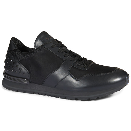 Tod's Nylon And Leather Running Sneakers, Black