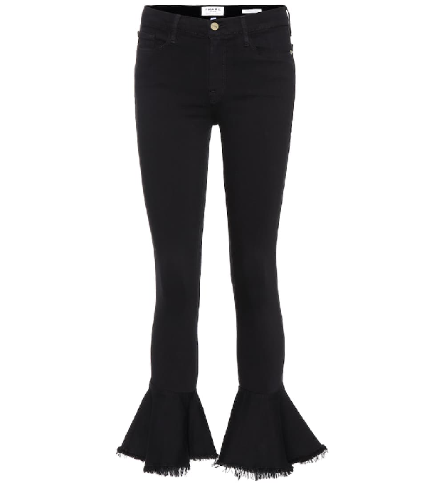 Frame Le Skinny De Jeanne Flounce Ankle Jeans With Raw-Edge Hem In Black