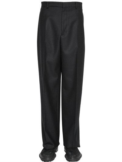 Lanvin 27cm Wool Twill Wide Leg Pants In Black