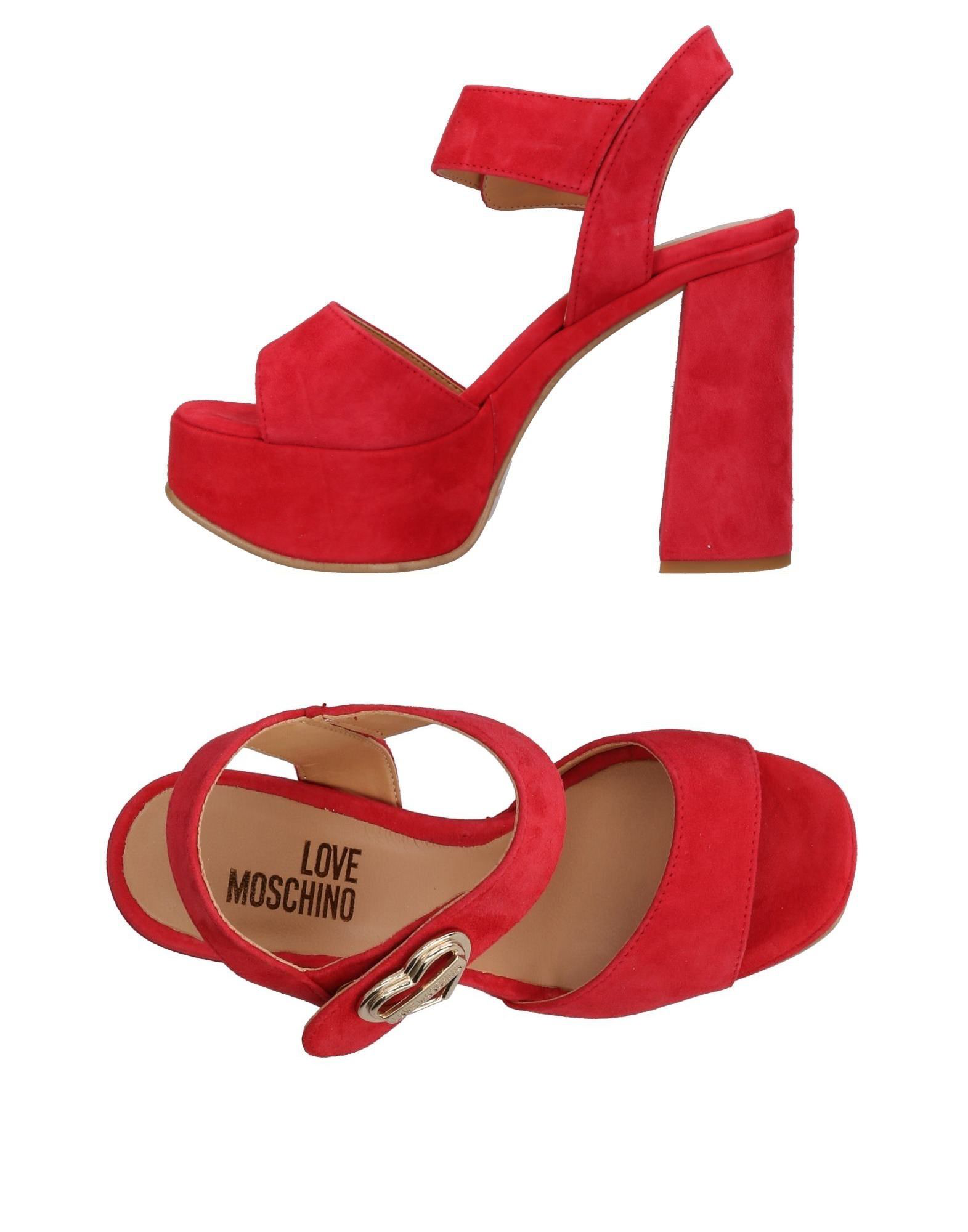 e83c04cadef7 Love Moschino Heart Buckle Heeled Platform Sandal - Red